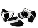 C6035 Black Leather & White Leather & Cuban Heel