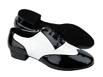 CM100101 Black Patent & White Leather