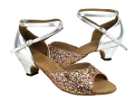S9220 Rainbow Sparkle & Silver Leather & Cuban Heel
