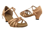 S9235 Tan Satin & Cuban Heel