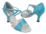 6030 230 Light Blue Satin_119 Silver Leather Trim_X-Strap Arch