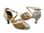 9622 Gold Sparklenet & Gold Leather Trim & Gold Mesh