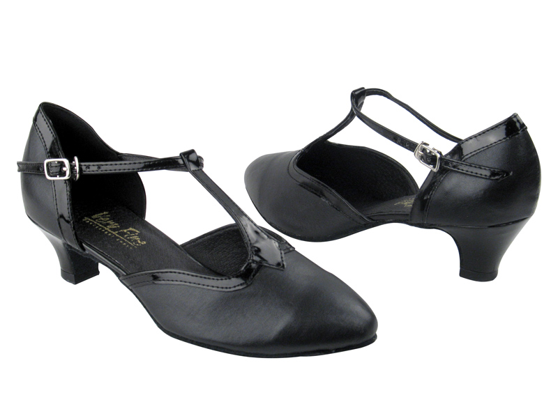 9627 black leather black patent trim