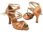 SERA3840 153 Tan Satin_Double X-Straps