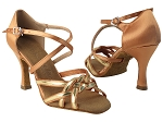 SERA7040 Tan Satin & Gold Trim