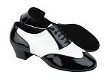 CM100101 Black Patent & White Leather & Latin Heel