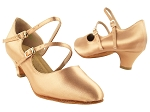 PP201 Tan Satin_Cuban Heel Vegan