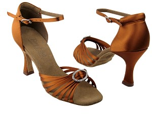 C1671B Dark Tan Satin & Stone