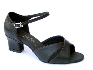6029 Black Leather & Thick Cuban Heel