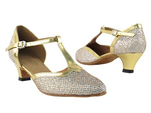 9627 Gold Sparklenet & Gold Trim & Cuban Heel