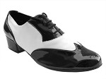 M100101 Black Patent & White Leather & Latin Heel