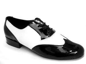 M100101 Black Patent & White Leather