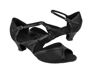 PP207 Black Satin & Black Trim & Cuban Heel