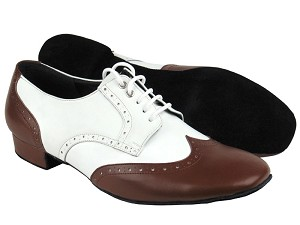 PP301 Dark Tan Leather & White Leather