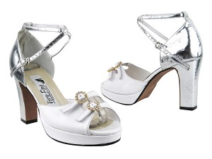 1620BPlatform White Leather_F_Silver Leather_B_X Ankle Strap