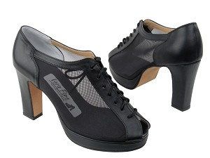 1643Platform Black Leather_Black Mesh