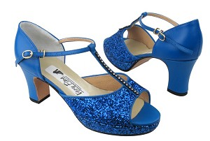 5004Platform Navy Blue Sparkle_Blue Leather