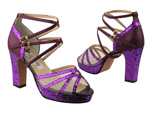 5008MPlatform Purple Sparkle & Purple Leather & White Mesh