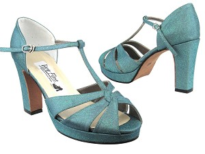 6006Platform Light Green Glitter Satin