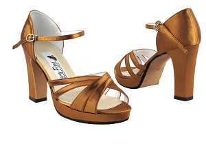 6030Platform Dark Tan Satin