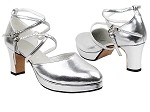 9691BPlatform Silver Leather_Double Straps