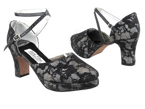 9691Platform Black Flower Lace Silver Scale
