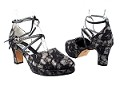 9691Platform Black Lace Silver Scale_Double Straps