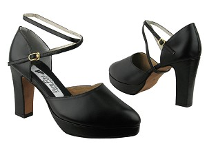 9691Platform Black Leather