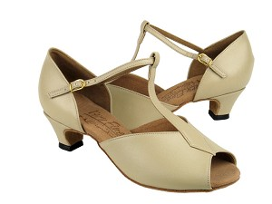 S2802 Beige Leather & Cuban Heel