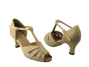 2702 106 Glitter Gold Satin & 60 Tan Leather