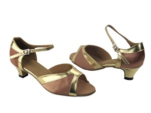 6024 81 Brown Satin & Gold Leather Trim
