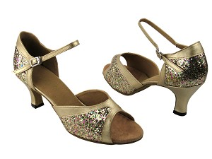 6024 Rainbow Sparkle & Light Gold Leather Trim