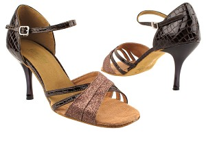 6030 212 Copper Stardust_262 Copper Crocodile Patent PU_3in Slim Black Plated Heel