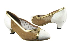 6815 183 White Stardust_108 Mesh_Gold Leather Trim