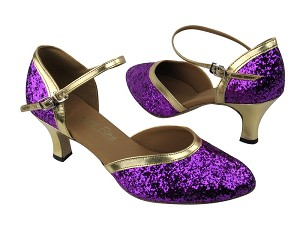 9621 Purple Sparkle_Gold Leather Trim
