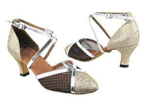9622 74 Gold Sparklenet_109 Mesh_Silver Leather Trim