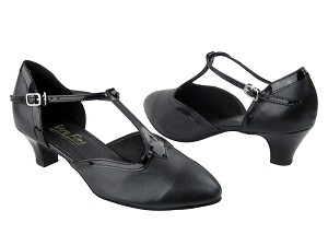 9627 Black Leather & Black Patent Trim