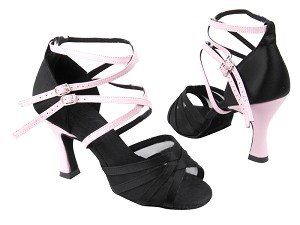 C5008 BD12 Black Satin_BE9 Pink Leather_H_Ankle Strap