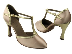 C9627 BD6 (1) Flesh Satin & BA 38 Soft Gold Leather Trim