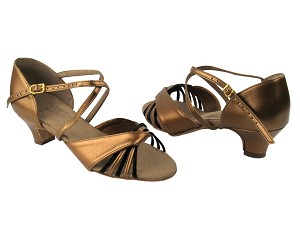 S92305 Dark Tan Gold Leather & Black Satin