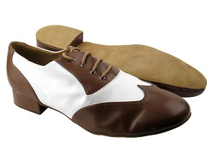 M100101 Coffee Brown Leather & White Leather