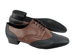 PP301 Black Leather_Dark Tan Leather