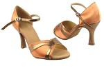 SERA3710 Tan Satin & Dark Tan Gold Trim