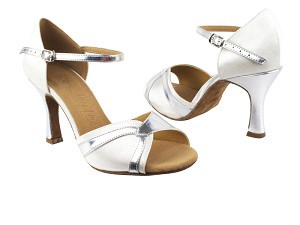 SERA3710 White Satin & Silver PU Trim