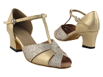 6006 Gold Leather & Gold Sparklenet & Thick Cuban Heel