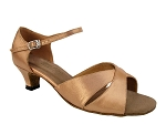 6029 Brown Satin & Cuban Heel