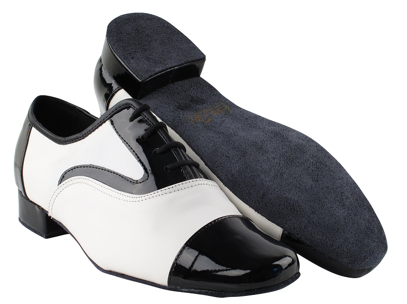 916102 Black Patent & White Leather with 1