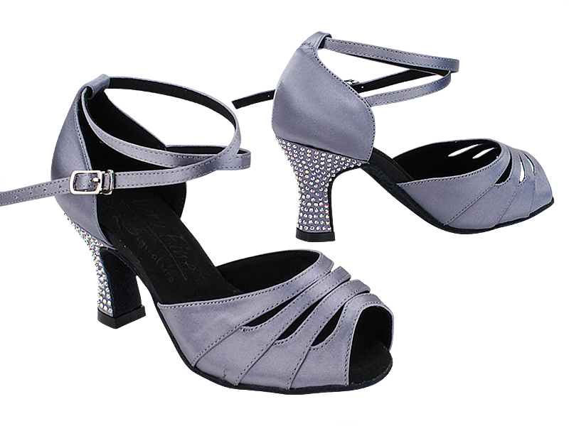 S1007CC 180 Grey Satin_X-Strap Ankle with Loop_Rhinestone on Heel Only with 2.5