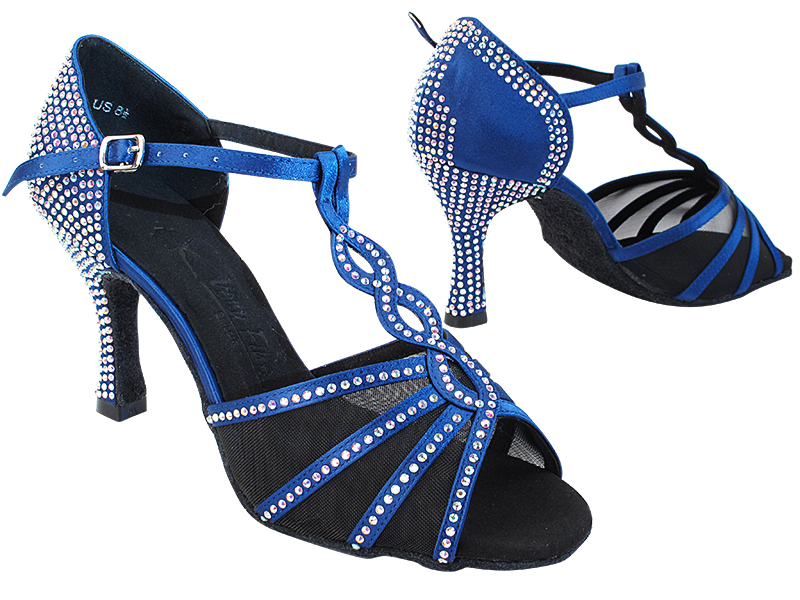SERA1692CC Dark Blue Satin_Black Mesh with 3 inch Heel (YQG) in the photo