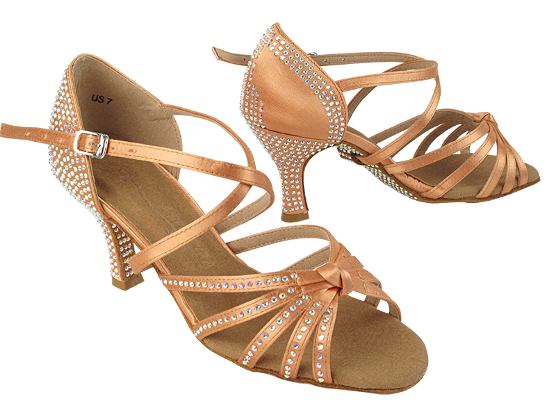 SERA6005XCC 153 Tan Satin with 3 inch Heel (5059) in the photo